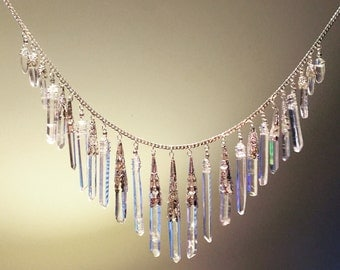 Natural Crystal Quartz Drop Filigree Necklace
