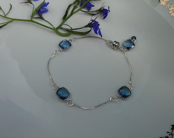 925 silver bracelet with Blue Crystal glass