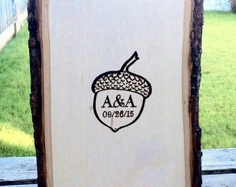 Rustic wedding guest book alternative personalized acorn