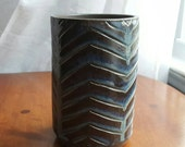 Hand Carved Vase with Chevron Motif - Handmade Flower Vase