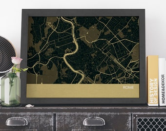 Rome City Street Map, Travel Print - wall decor, travel print, free shipping, gift for him, gift for her, travel, living room, travel map