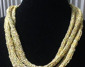 Winter Bling - Hand Knitted Golden Statement Necklace