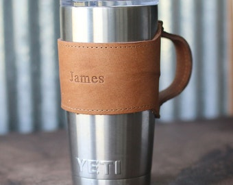 The Rocket City for Yeti 20oz Rambler Tumbler Personalized Leather Drink Cooler Wrap Yeti Handle w/ Handle in Tan