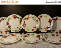 Delayed Shipping Sale Del Coronado Nasco Plates Set of 8 Vintage Japan Salad Plates Hand Painted Vegetable Ceramic Salad or Dessert Plates M