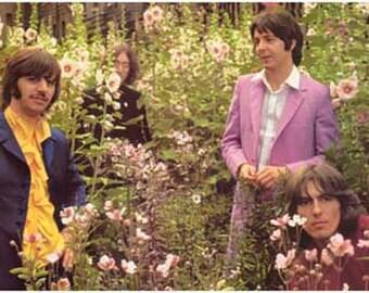 Beatles Flower Field Vintage Art Poster
