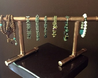Copper pipe jewelry etsy for Copper pipe jewelry stand