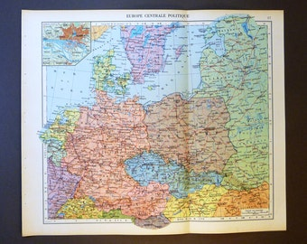 1950 Central Europe Antique Map. Vintage map of Europe. Large Size historical Decor Gift