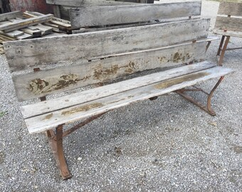 Set of 4 Rustic garden benches 6 feet long with metal framing, and hardwood weathered seats.