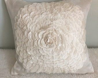 Delicate Shabby Chic Flower Throw Pillow Cover