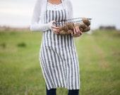 Pure european Linen apron stonewashed stripes