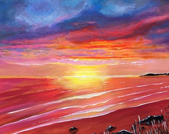 Original acrylic painting. Sundown. Free UK delivery.