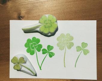 clover hand carved rubber stamps. garden stamp.spring crafts.clover leaf stamp.