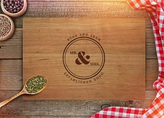 Personalized Wedding Gifts Kitchen : Custom Cutting Board - Personalized Wedding Gift for Couple - Monogram ...