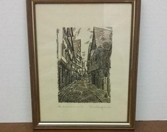 Drawing, Artwork, Vintage, Original, Pen and Ink, Heilbronn a.n., Germany, Unknown Artist, Fischergame