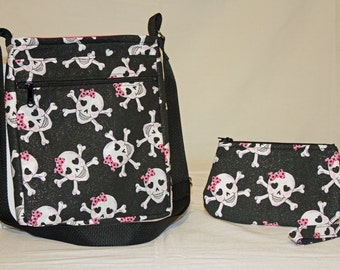 Skulls and Bows Crossover Bag with zipper pocket
