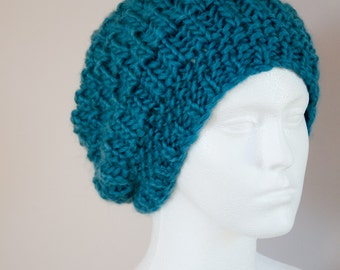 Slouchy Beanie Hat - Pure Wool - Blue Womens Hat - Womens Wife - Gift Daughter Knit Hats - Blue Hat Slouchy Beanie - Fashion Accessories
