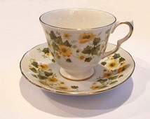 Vintage Queen Anne Bone China Cup and Saucer Set England Yellow Flowers 8643 Tea Party