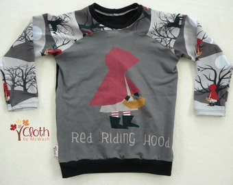 4T - Toddler Long Sleeve T-shirt - Little Red Riding Hood - Big Bad Wolf - Fairy Tale - Storybook