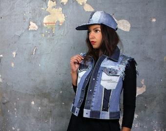 upcycled denim vest