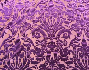 Purple Damask Burnout 4 Way Stretch Velvet Fabric - Sold By The  Yard - 60""