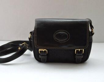 Vintage Leather Crossbody Bag Small Black Natural Leather Mini Purse Shoulder Handbag Purse