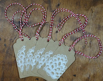 Set of 5 hand block printed white pinecone gift tags with red bakers twine