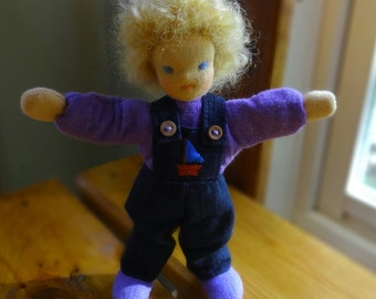 Bendy doll, dollhouse doll, posable Waldorf style doll, blond curly  hair, blue eyes