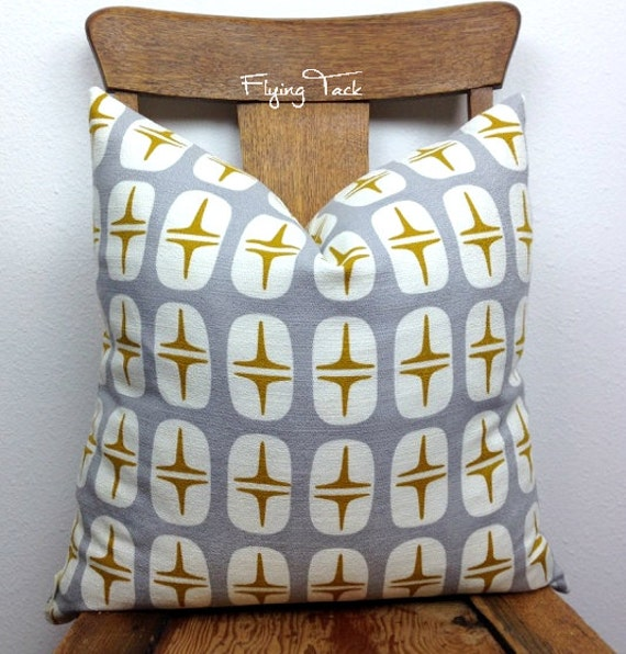 Light Grey Gold and White Mid Century Modern Pillow cover