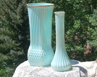 Robin's egg Blue Gold Vases Set of 2 Shabby  Beachy Hand Painted