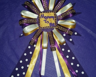 Baby Shower Purple/White/Gold Corsage