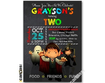 Halloween Birthday Invitation, Halloween Invitation, Boo-thday Party, Trick Or Treat, Boys, Girls, Kids Birthday Printable Invitation HL10