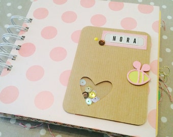 Hand made scrapbooking albums for birth, baptism or birthday