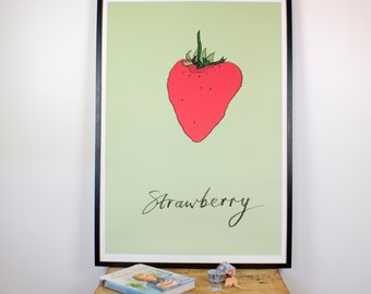 High Quality Strawberry kitchen wall print - Giclee print