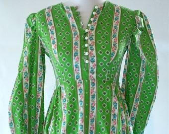 1970s Bright Green Floral Cotton Maxi Dress