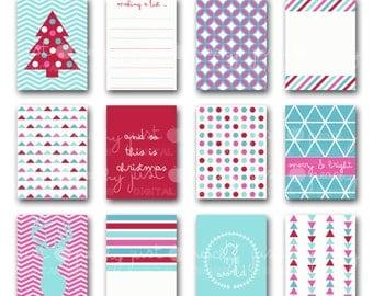 modern christmas journal cards - digital scrapbook pocket cards - project life inspired - 3x4 printable journal cards - instant download