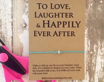 Love Laughter Happily Ever After, Love Laughter Wedding Favors, Wedding Guest Favors, Creative Wedding Favors, Wish Bracelet Favors