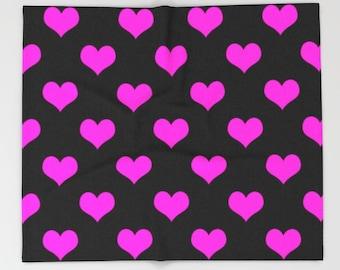 Pink Heart Blanket, Pink Black Heart Blanket, Pink Blanket, Pink Black Blanket, Heart Blanket, Pink Heart Throw, Pink Heart Bedding, Pink