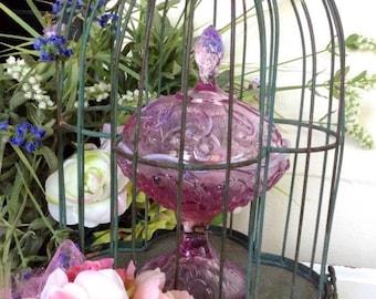 Beautiful Pink Fenton Lidded Candy Dish Lily Pattern
