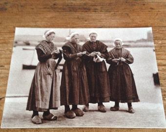 Vintage French Knitting Circle Postcard