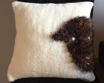 GetWooly Chunky cream knit cushion / pillow cover with Herdy the sheep