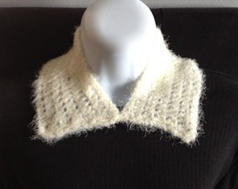 Cream soft, fluffy, lacy knit collar, hand knitted