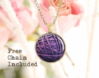 Knit lover's necklace. Romantic gift pendant. Free matching chain is included.