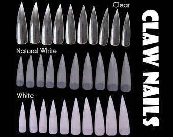 50pc Half Cover Claw Nails Stiletto Pointy False Nails Manicure Acrylic UV Gel White CLear Natural White