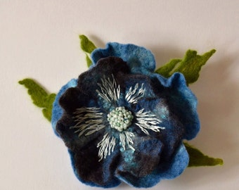 Felted Flower Brooch Turquoise Embroided Flower Pin