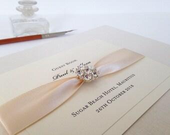 Personalised Guest Book, Wedding Guest Book, Bridal Journal, Ivory Guest Book, Wedding Keepsake Book, Wedding Journal