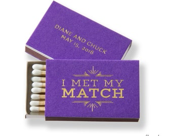 I MET MY MATCH Deco Matchboxes - Wedding Favors, Wedding Matches, Engagement Party, Personalized Matches, Custom Matchboxes, Match Box Favor