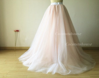 Ombre color white/blush pink Tulle Skirt/Floor Length Tulle /Adult Women Tulle Skirt Long Skirt//Wedding Dress/Bridesmaid/Bachelorette TuTu