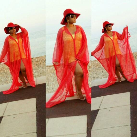 Gorgeous   red cotton lace swimsuit coverup beach wear kaftan