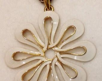 Trifari Signed Long Pendant Necklace & Chain White Enamel Gold Tone