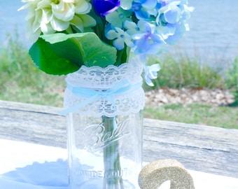 3 - 32oz (Qt) POWDER BLUE Lace Mason Jars